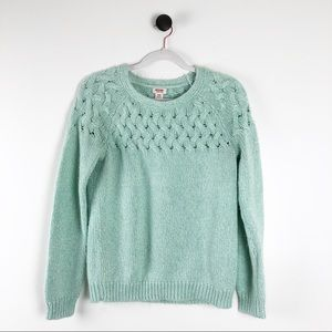 Mossimo Cable Knit Crewneck Sweater Green Size M
